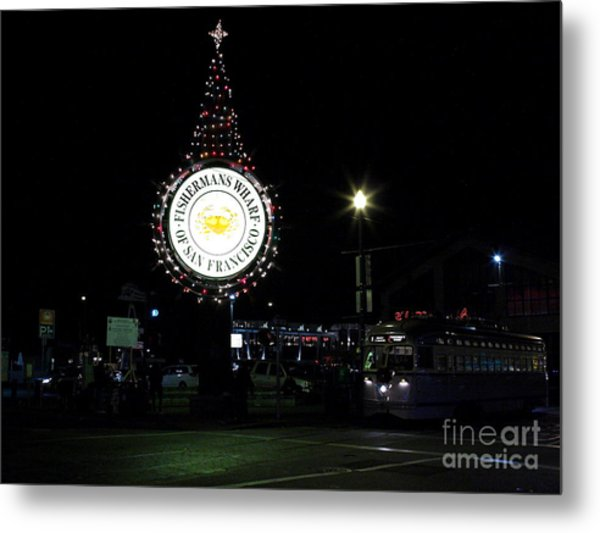 Christmas Eve 2009 Nightime At Fisherman Metal Print by Wingsdomain Art and Photography