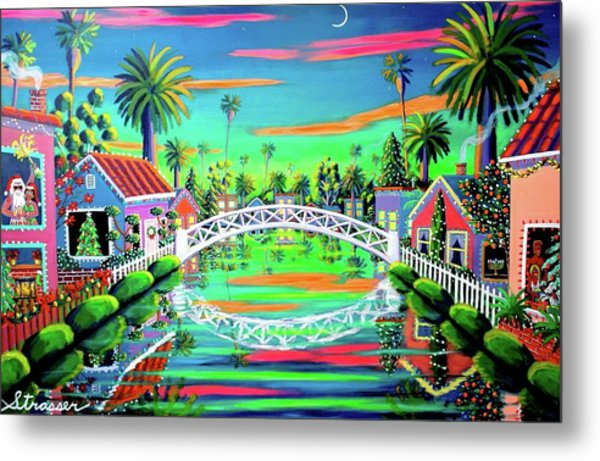Christmas Eve On Retro Canal Metal Print