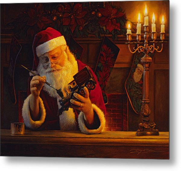 Metal Print featuring the painting Christmas Eve Touch Up by Greg Olsen