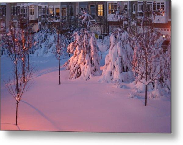 Christmas Evening Snow Metal Print