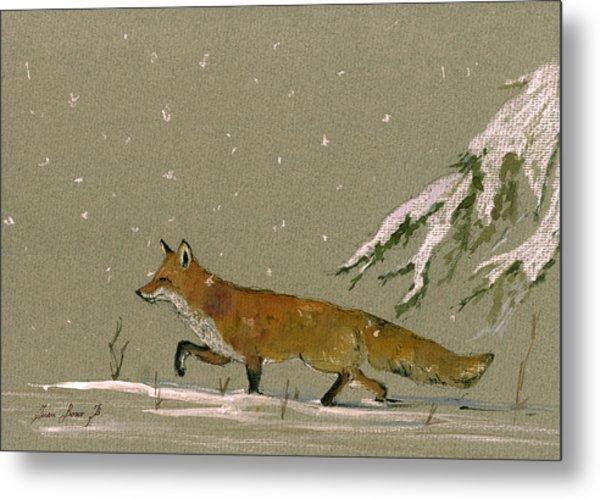 Christmas Fox Snow Metal Print