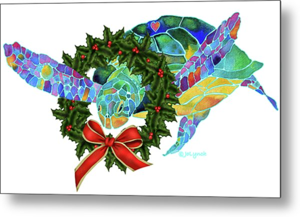Christmas Holiday Sea Turtle Metal Print