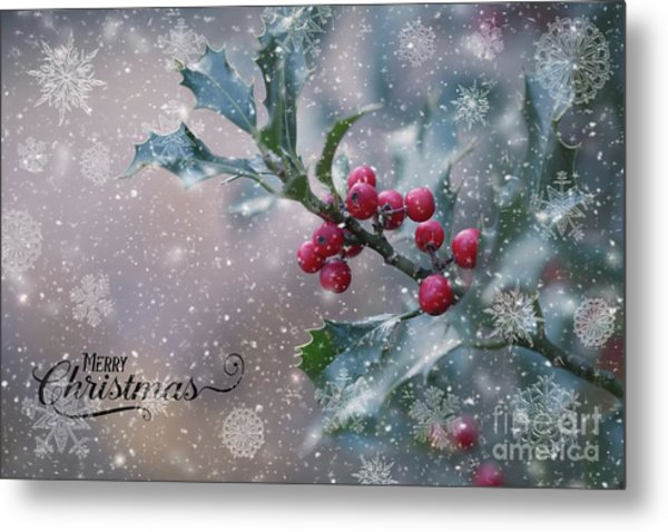 Christmas Holly Metal Print