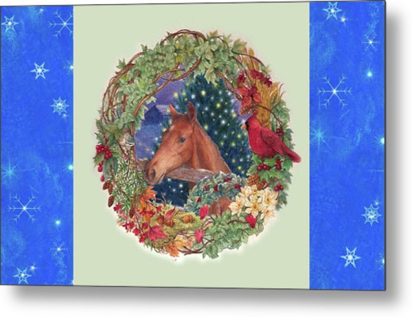 Christmas Horse And Holiday Wreath Metal Print