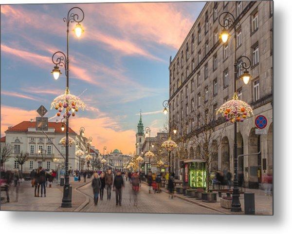 Christmas Lights In Warsaw Metal Print