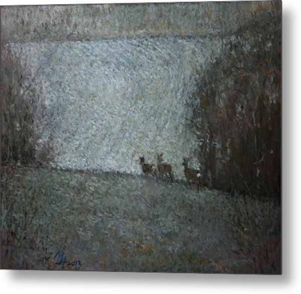 Christmas Painting With Roes Metal Print