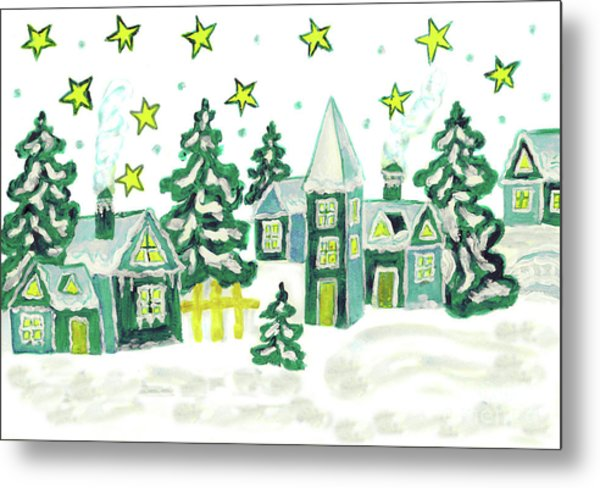 Christmas Picture In Green Metal Print
