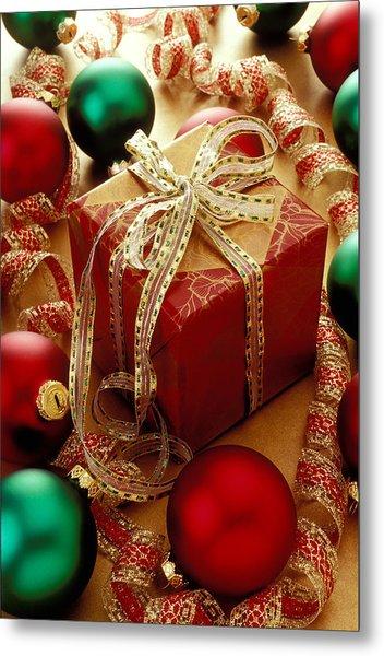 Christmas Present And Ornaments Metal Print