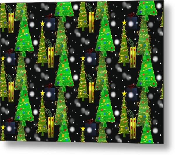 Christmas Snow Fall - Pattern Metal Print