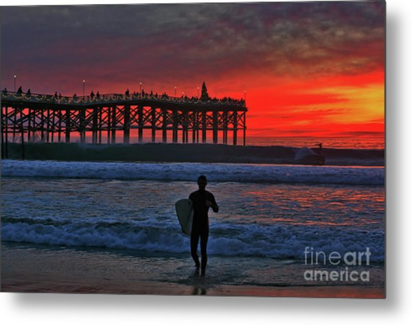 Christmas Surfer Sunset Metal Print