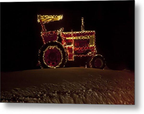 Christmas Tractor   Metal Print