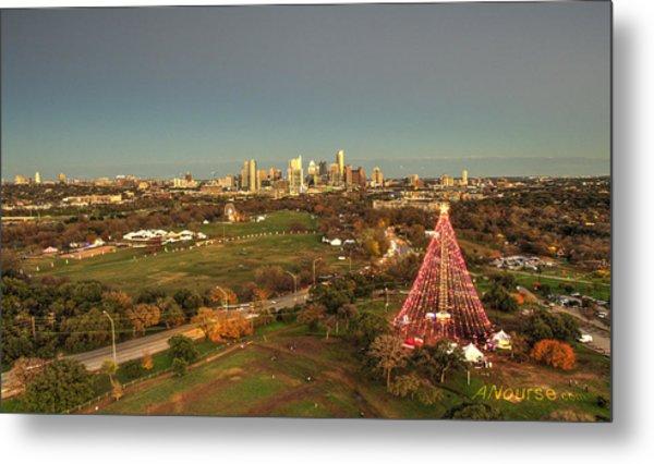 Christmas Tree In Austin Metal Print