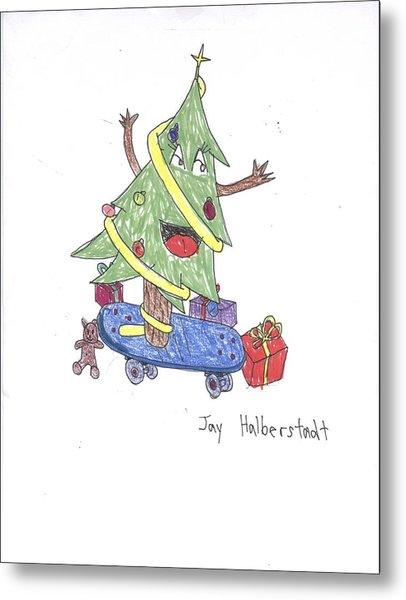 Christmas Tree On Skateboard Metal Print