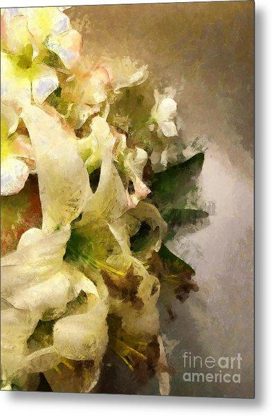 Christmas White Flowers Metal Print