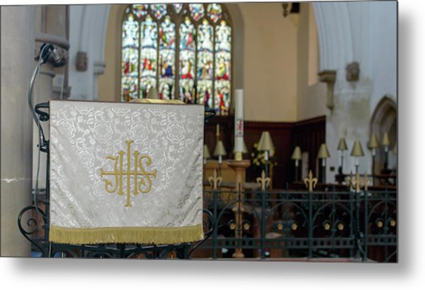 Metal Print featuring the photograph Christogram Ihs On Pulpit Cloth In Gothic English Church by Jacek Wojnarowski