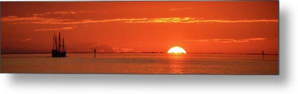 Christopher Columbus Sailing Ship Nina Sails Off Into The Sunset Panoramic Metal Print