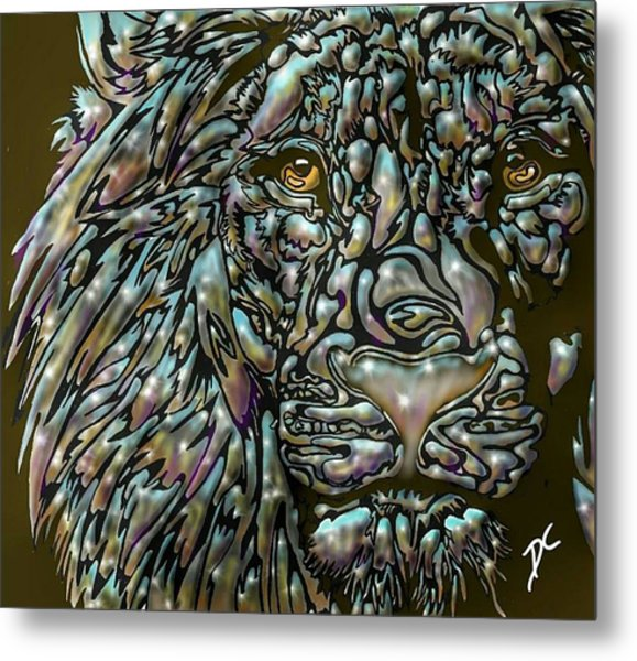 Metal Print featuring the digital art Chrome Lion by Darren Cannell