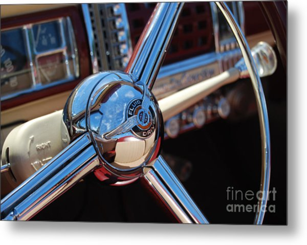 Chrysler Town And Country Steering Wheel Metal Print by Larry Keahey