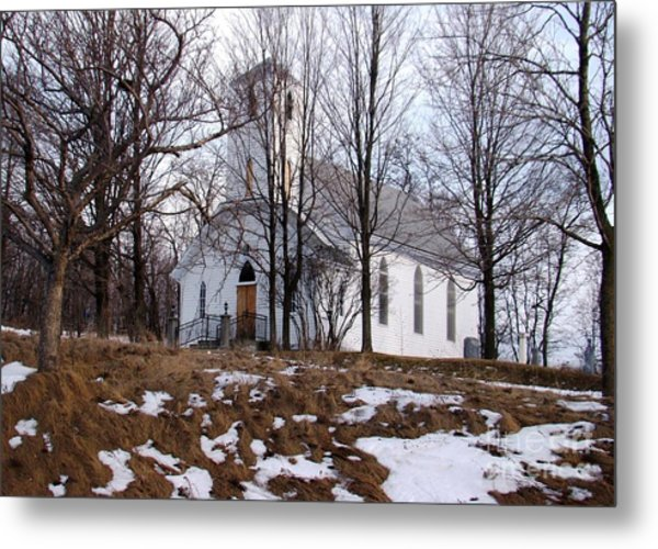 Church In The Woods Metal Print by Margaret Hamilton
