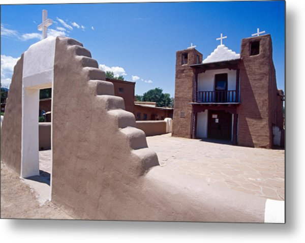 Church Of Taos Pueblo New Mexico Metal Print by George Oze