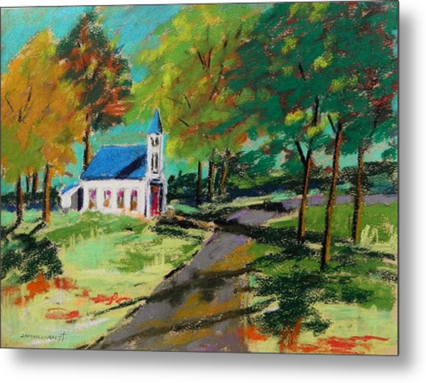 Church On The Bend Landscape Metal Print