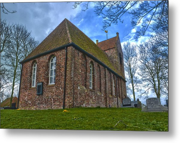 Church On The Mound Of Oostum Metal Print