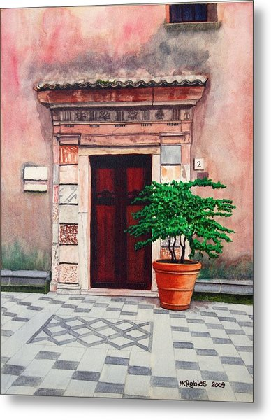 Church Side Door - Taormina Sicily Metal Print