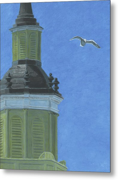 Church Steeple With Seagull Metal Print