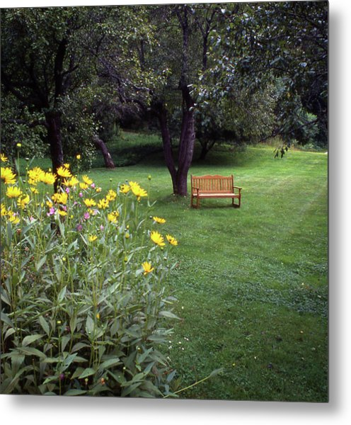 Churchyard Bench - Woodstock, Vermont Metal Print
