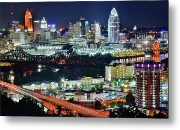 Cincinnati And Covington Collide Metal Print
