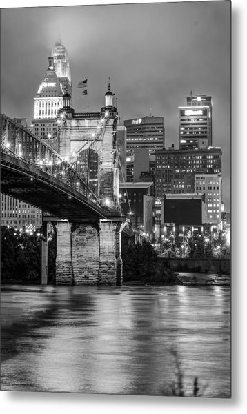 Cincinnati Ohio Skyline And Bridge - Black And White Metal Print