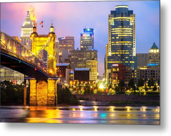 Cincinnati Skyline And The John Roebling Suspension Bridge Metal Print