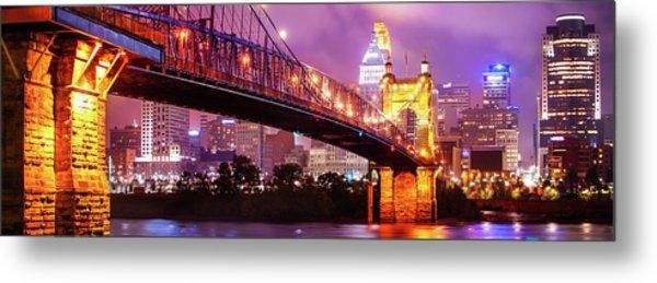 Cincinnati Skyline Panorama - Ohio - Usa Metal Print by Gregory Ballos