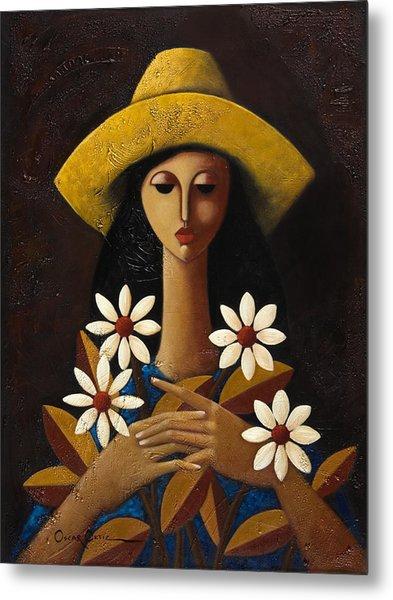 Metal Print featuring the painting Cinco Margaritas by Oscar Ortiz