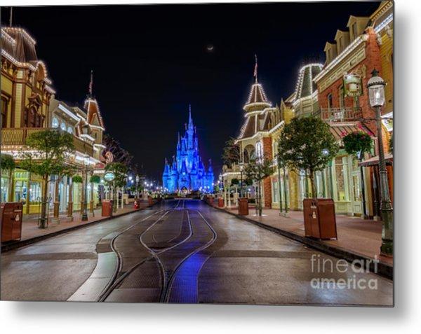 Cinderella Castle Glow Over Main Street Usa Metal Print