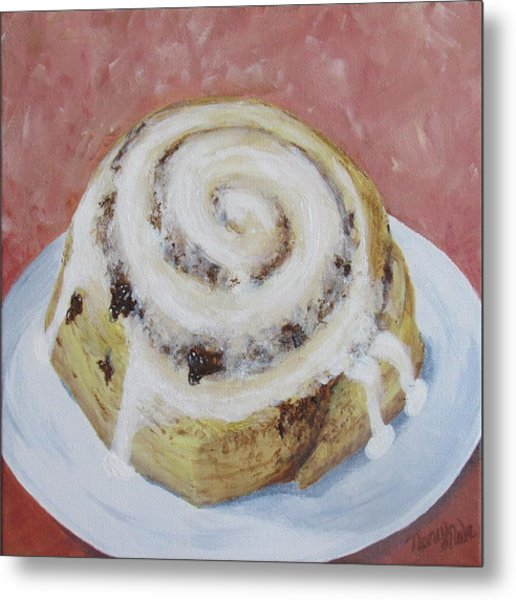 Metal Print featuring the painting Cinnamon Roll by Nancy Nale