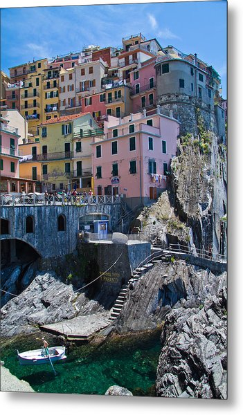 Cinque Terre Harbor And Town Metal Print