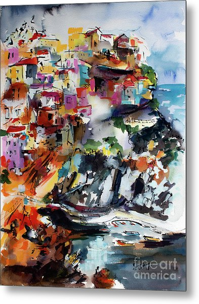 Metal Print featuring the painting Cinque Terre Italy Manarola by Ginette Callaway