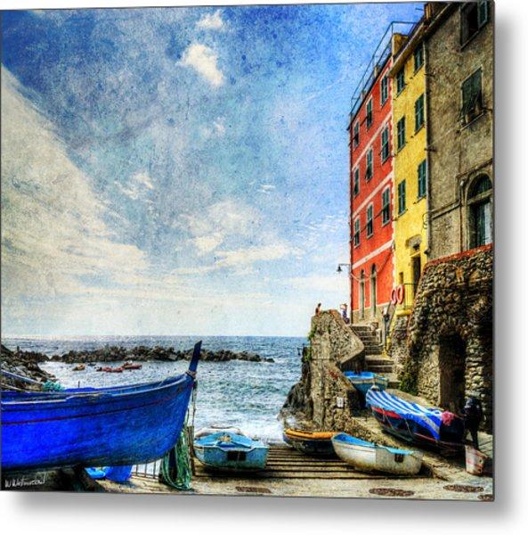 Cinque Terre - Little Port Of Riomaggiore - Vintage Version Metal Print