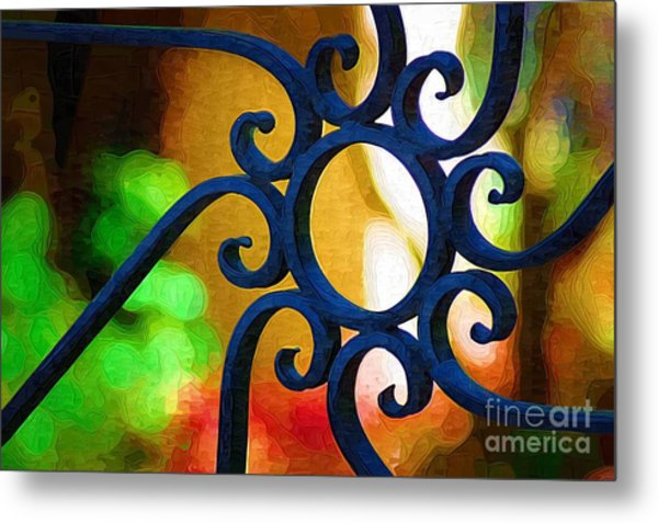 Circle Design On Iron Gate Metal Print
