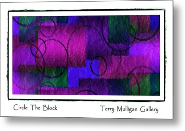 Circle The Block In Purple And Blue Metal Print by Terry Mulligan
