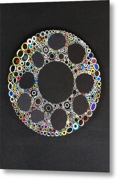 Circular Convergence Of Mutated Molecules Metal Print