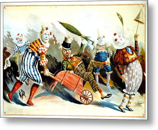 Circus Clowns - Vintage Circus Advertising Poster Metal Print