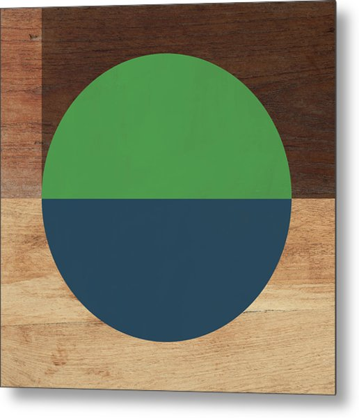Cirkel Blue And Green- Art By Linda Woods Metal Print