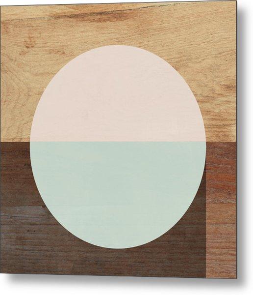 Cirkel In Peach And Mint- Art By Linda Woods Metal Print