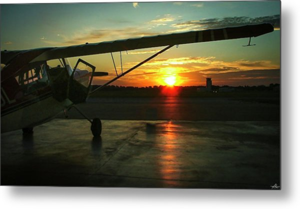 Citabria Peeking Out Of The Hangar Door Metal Print