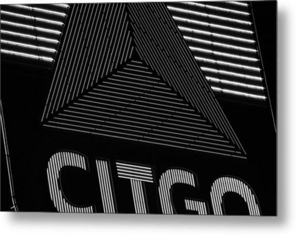 Citgo Sign Closeup Boston Ma Black And White Metal Print