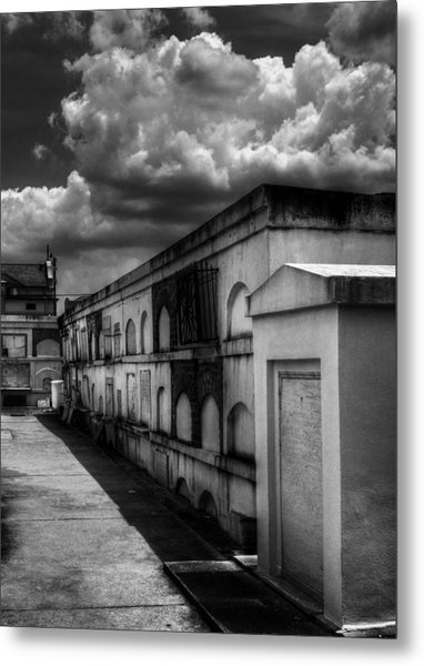 Cities Of The Dead In Black And White Metal Print