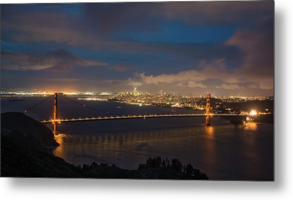 Metal Print featuring the photograph City And The Bridge by Stephen Holst