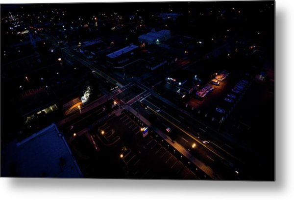 City At Night From Above Metal Print